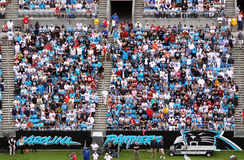 NFL - colorful fans - a sea of blue. A colorful view of a sea of Panthers fans in Bank of America Stadium during an NFL football game between the Washington Royalty Free Stock Photography