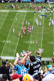NFL - fans cheering!. Carolina Panther fans in Bank of America Stadium celebrate a first down by the home team during an NFL football game between the Washington Royalty Free Stock Photography