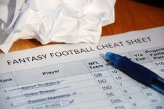 NFL fantasy football draft cheat sheet Stock Image