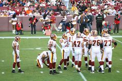 NFL Football: Redskins v. Browns. Fedex Field, Washington DC: Washington Redskins defeating Cleveland Browns 14-11 during a football game on October 19, 2008 royalty free stock image