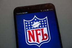 NFL logo on a smartphone stock photography