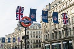 NFL på Regent Street Royaltyfri Bild