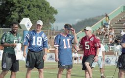2001 NFL QB Challenge. Participants of the 2001 NFL QB Challenge are introduced. Image taken from color slide stock photography