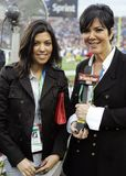 Kris Jenner R and Kourtney Kardashian attend Super Bowl XLIII. Featuring the Arizona Cardinals vs. the Pittsburgh Steelers at Raymond James Stadium in Tampa royalty free stock images