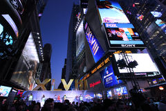 NFL Super Bowl XLVIII NYC. NFL Super Bowl XLVIII in Times Square New York City royalty free stock images