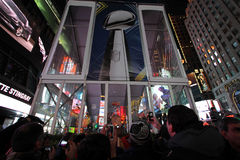 NFL Super Bowl XLVIII NYC. Super Bowl Trophy in Times Square NYC. NFL Super Bowl XLVIII stock images