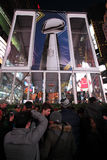 NFL Super Bowl XLVIII NYC. Super Bowl Trophy in Times Square NYC. NFL Super Bowl XLVIII stock photography
