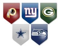 NFL-Teams auf Weiß Lizenzfreie Stockfotografie