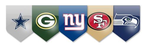 NFL-Teams auf Weiß Lizenzfreie Stockbilder