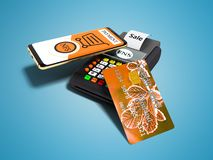 Nfs payment by phone with orange credit card on payment card POS-terminal 3D rendering on blue background with shadow vector illustration