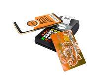 Nfsbetaling telefonisch met oranje creditcard bij betaalkaartpos-terminal het 3D teruggeven op witte achtergrond geen schaduw royalty-vrije illustratie