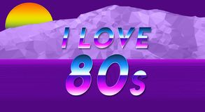 Fun and colorful steamwave and geometric wallpaper I love the 80s. NFun and colorful steamwave and geometric wallpaper I love the 80s Royalty Free Stock Photography