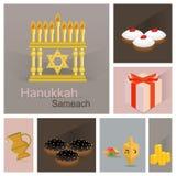 Ng卡片 holyday的Juwish 传统标志;上油瓶子,油炸圈饼,巧克力油炸圈饼抽陀螺,硬币, menorah,发光的光传染媒介 库存例证