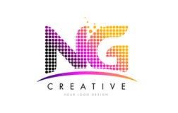 NG N G Brief Logo Design met Magenta Punten en Swoosh royalty-vrije illustratie