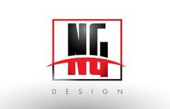 NG N G Logo Letters avec des couleurs et le bruissement rouges et noirs Images stock