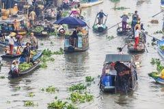 Nga Nam浮动市场的部分 免版税图库摄影