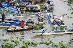 Nga Nam浮动市场的部分 图库摄影
