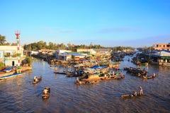 Nga Nam浮动市场美丽的景色早晨 库存图片