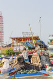Nga Nam floating market in the morning stock photography