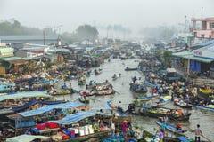 Nga Nam spławowy rynek, Nga Nam miasteczko, Soc Trang prowincja Obraz Royalty Free