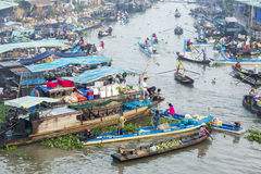 Nga Nam spławowy rynek, Nga Nam miasteczko, Soc Trang prowincja Fotografia Royalty Free