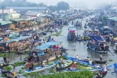 Nga Nam spławowy rynek, Nga Nam miasteczko, Soc Trang prowincja Obrazy Royalty Free