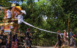 Ngaben Tradition. Balinese holy  rutial before cremation or burial for dead people. they believe that spirit need to be delivered with wagon to temple later Royalty Free Stock Photos