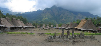Ngada village Indonesia. Ngada village from the ngadhus and bhagas - Bajawa - Flores - Indonesia - Panorama Royalty Free Stock Photography