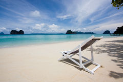 Ngai Island. The white chair on beautiful island in andaman sea, thailand Stock Photos