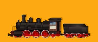Ångalokomotivet rullar närbild Arkivfoto