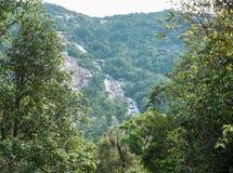 Ngao vattenfall, härlig scenisk vattenfall som omges av olikt av träd i skogen i nationalpark av Ranong, Thailand arkivfoton