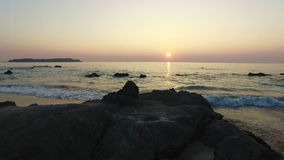 Ngapaly Beach sunset. Beautiful sunset over the sea at Ngapaly Beach in Myanmar stock footage
