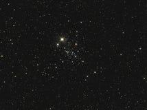 NGC 457或猫头鹰群在仙后座的开放群 免版税库存照片
