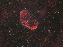 "NGC 6888 ""Crescent Nebula"" in Cygnus. The Crescent Nebula (NGC 6888, Caldwell 27, Sharpless 105) is an emission nebula in the constellation Cygnus, about 5 Stock Photos"