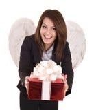 Ángel de la mujer de negocios con el rectángulo del rojo de la Navidad. Fotografía de archivo libre de regalías