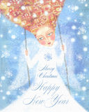 Ángel en la ropa blanca con el pelo astuto que balancea en el cielo azul con los copos de nieve Imagenes de archivo