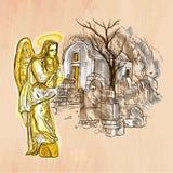 Ángel - un vector dibujado mano Línea arte Imagen de archivo libre de regalías