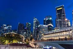 Nght photo of Singapore Central Business District and Financial royalty free stock images