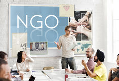 NGO Contribution Corporate Foundation Nonprofit Concept. NGO business People Meeting  Concept Stock Image
