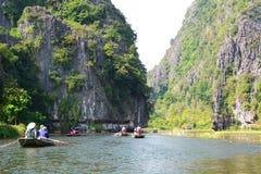 Ngo Dong river cruising. Tam Coc. Ninh Binh province. Vietnam Royalty Free Stock Photo