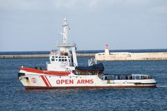 NGO Salvage / Rescue Vessel `OPEN ARMS`. Salvage / Rescue vessel OPEN ARMS used in migrant rescue operations. Vessel operated by Spanish NGO `Open Arms` is 36.9m Stock Photos