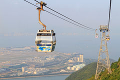 Ngong Ping 360 cable car on Lantau Island. LANTAU ISLAND, HONG KONG - OCT 31: Ngong Ping 360 cable car on Lantau Island. October 31, 2011 in Hong Kong Royalty Free Stock Photos