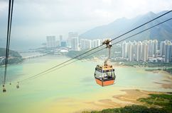 Ngong Ping cable car with ocean background, Hong Kong China stock photos