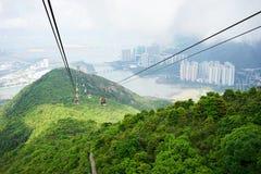Ngong Ping 360 cable car system. HONGKONG, China. April 21, 2017: Beautiful landscape from Ngong Ping 360 cable car system in Lantau Island, Hong Kong Royalty Free Stock Images