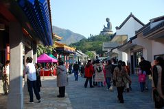 Ngong Ping Village Île de Lantau, Hong Kong Images libres de droits