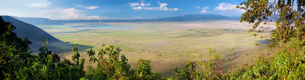Ngorongoro火山口在坦桑尼亚,非洲。 全景 免版税库存照片