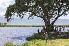 ngorongoro火山口的湖Makat在坦桑尼亚 库存图片