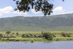 ngorongoro火山口的湖Makat在坦桑尼亚 免版税库存图片