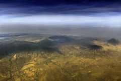 Ngorongoro Crater Conservation Area. In Tanzania. In the middle Empakaai crater. On the very right active volcano Ol Doinyo Lengai stock images