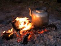 Ngorongoro dell'accampamento del fuoco 001 Fotografia Stock